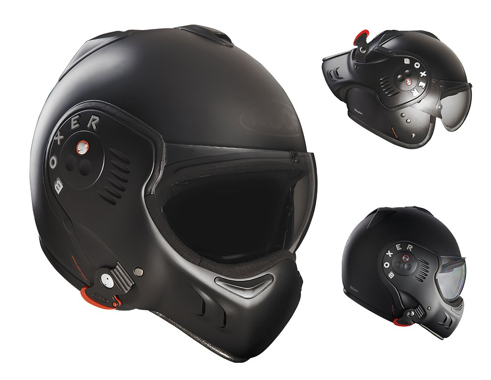 Roof Boxer V8 Full Black Flip Front Motorcycle Helmet