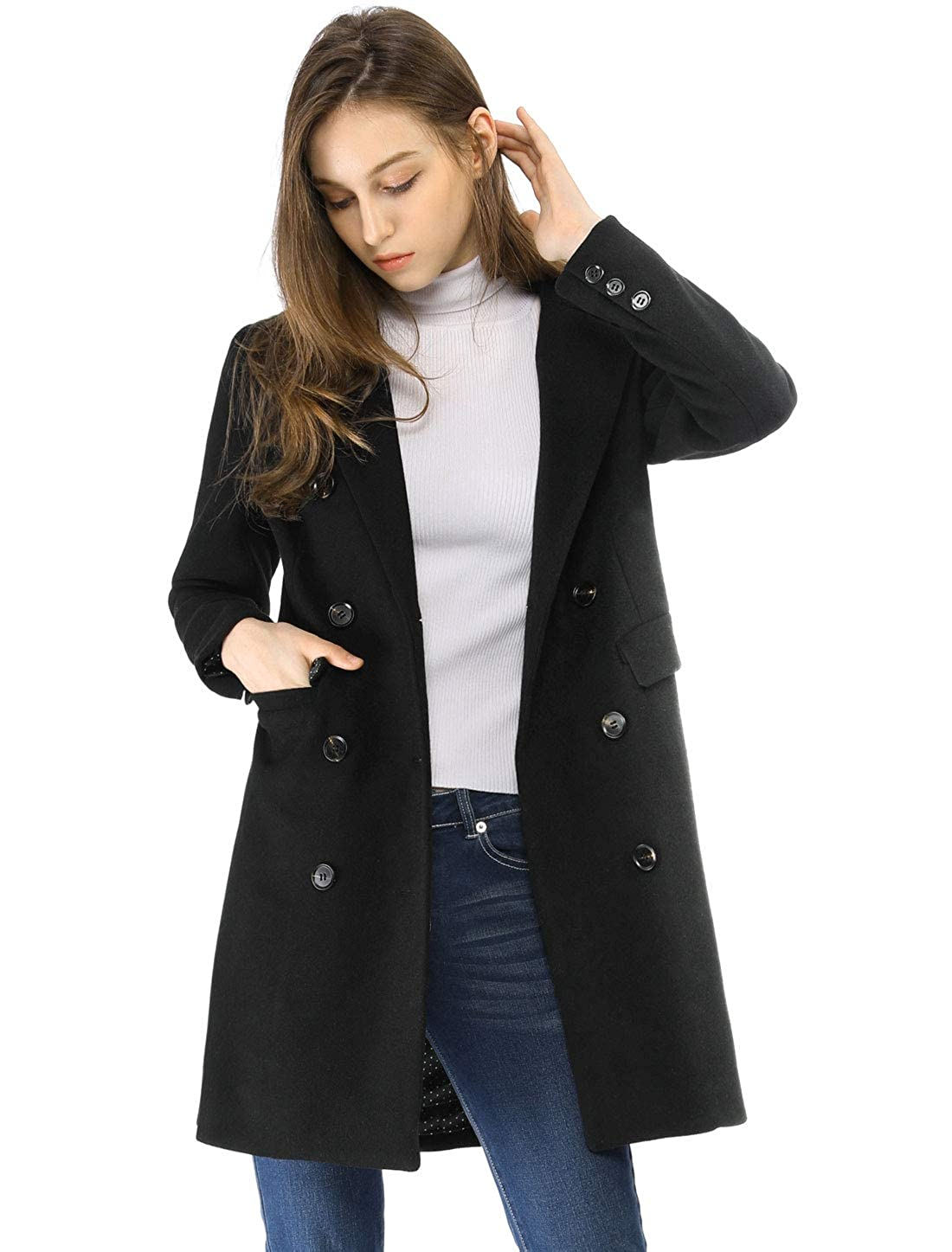 0820271bf Amazon.com: Allegra K Women's Long Jacket Notched Lapel Double ...
