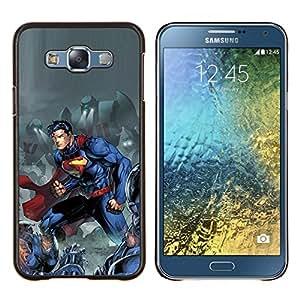 Blue Man carácter cómico- Metal de aluminio y de plástico duro Caja del teléfono - Negro - Samsung Galaxy E7 / SM-E700