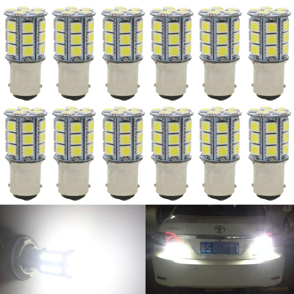 AMAZENAR 2-Pack 1142 Extremely Bright White 300Lums LED Light 12V-24V DC,5050 18 SMD Car Replacement For Interior RV Camper Lighting Parking Turn Signal Light Lamps Tail BackUp Bulbs