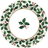 Small Seasonal Holly Paper Plates Christmas Party Disposable Party Value Tableware (40 Pieces), Green, 6 3/4