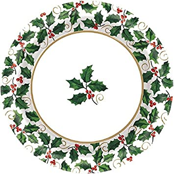 Small Seasonal Holly Paper Plates Christmas Party Disposable Party Value Tableware (40 Pieces)  sc 1 st  Amazon.com : paper christmas plates - pezcame.com