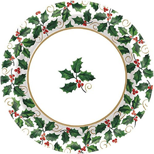 Small Seasonal Holly Value Plates, 40 Ct. | Christmas Tableware