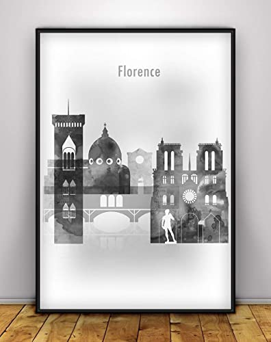Florence Watercolor Canvas Wall Art Print Florence Poster Home Wall decor Travel Print City Skyline print Florence Canvas Print