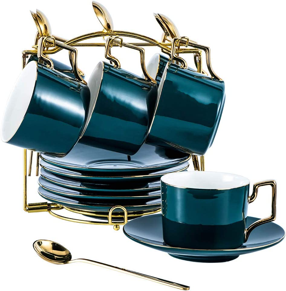YOLIFE Tea Cup and Saucer Set, Coffee Cup Saucer,Cup Saucer Set 6 Ceramic Dark Green Design with Gold Display Stand(Green Pack of 6)