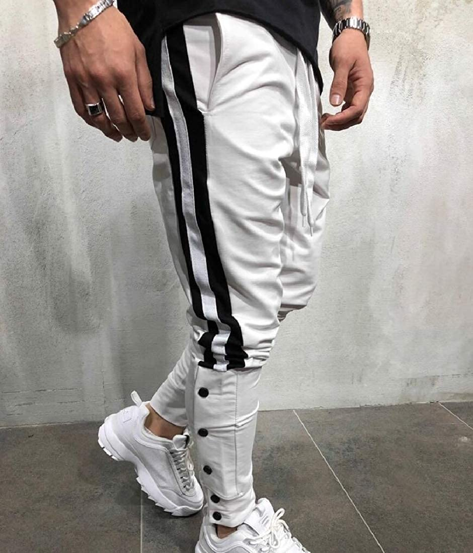 Highisa Mens Patchwork Sports Elastic Waist Lounge Drawstring Jogger Pant