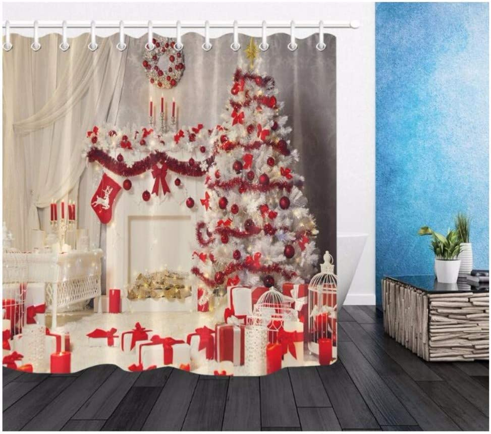 Amazon Com Xtszlfj White Xmas Tree Fireplace Shower Curtain Christmas Room Interior With Mat Set Luxury Bathroom Fabric For Art Bathtub Decor 71 X 71 Inch Kitchen Dining