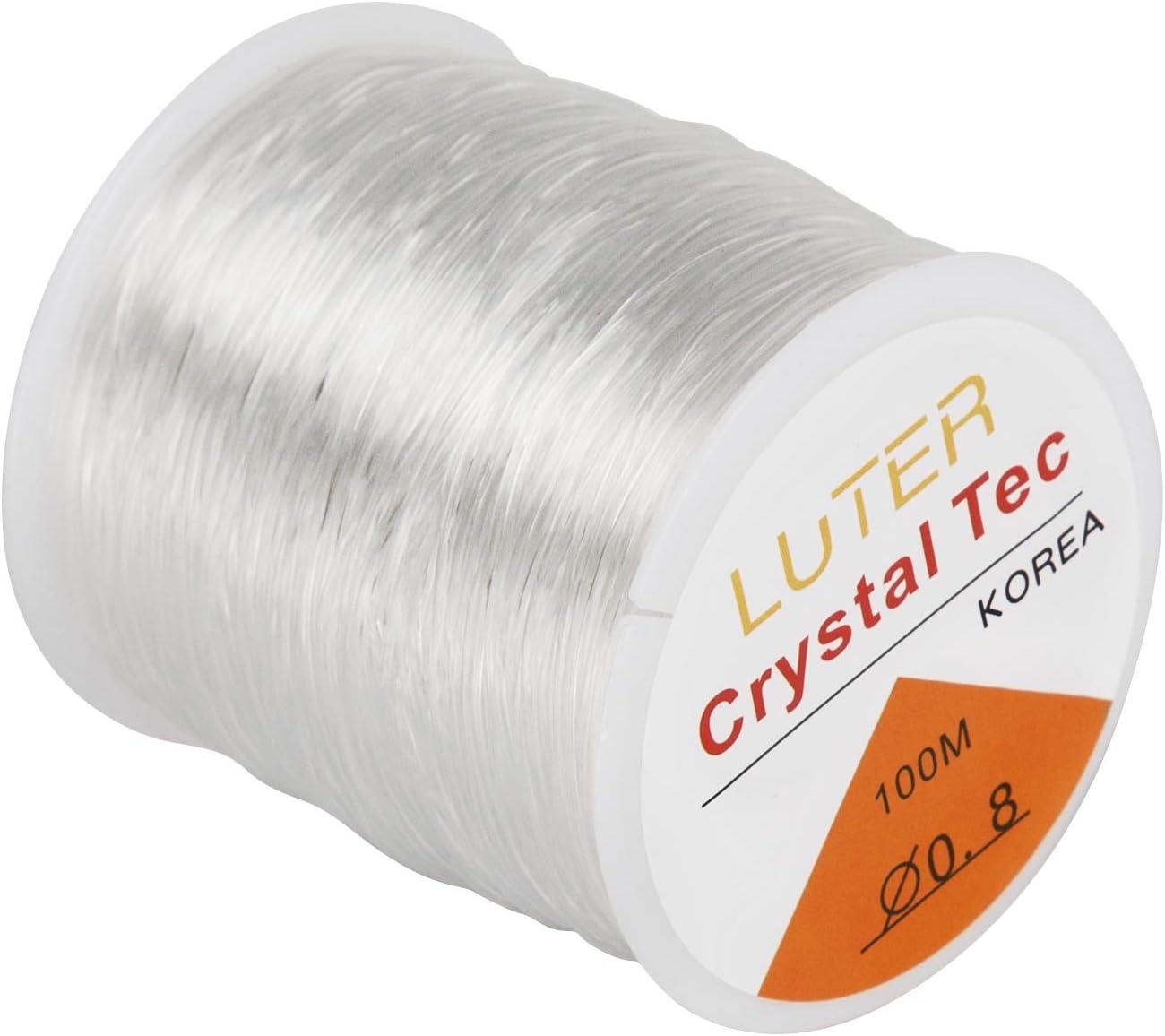 LUTER 0.8mm Hilo ElásticoTransparente para Pulseras Collar Abalorios Joyería(328ft)