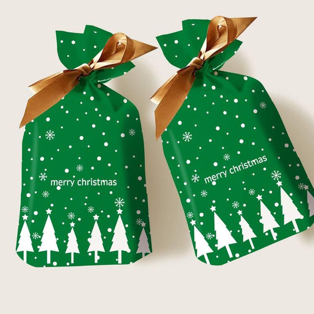 50pcs paquete de regalo del presente de Navidad del reno rojo del d/ía de fiesta Dulces Dulces Bolsa Material pl/ástico Bolsas de regalos de Navidad para Navidad J Bolsas de regalo de navidad