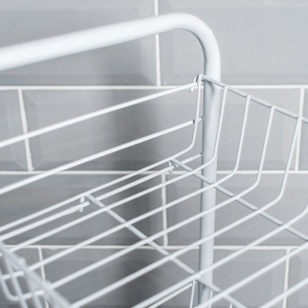 White Chef Vida 4-Tier Kitchen Vegetable Storage Trolley//Rack Cart with Wheels Metal