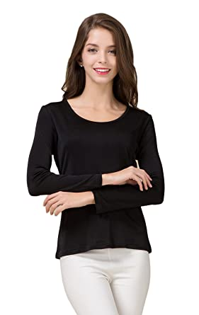 495275e3 Colorful Silk CLC Women's Mulberry Silk T-Shirt Long Sleeve Crewneck ...