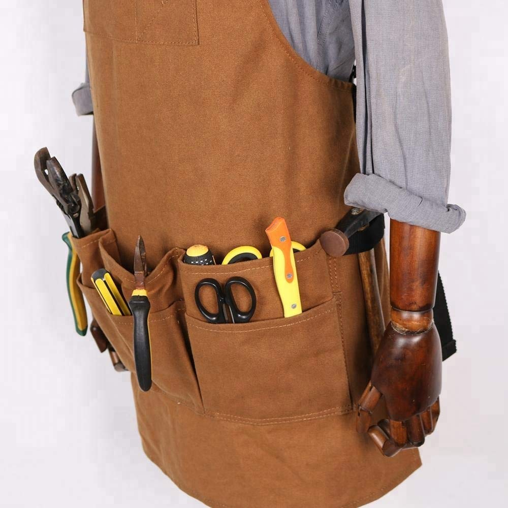 Utility apron Waxed-Canvas Work Apron for Men and Women with Pockets for Tools Cross-Back Straps - Adjustable from M to XXL (Brown)