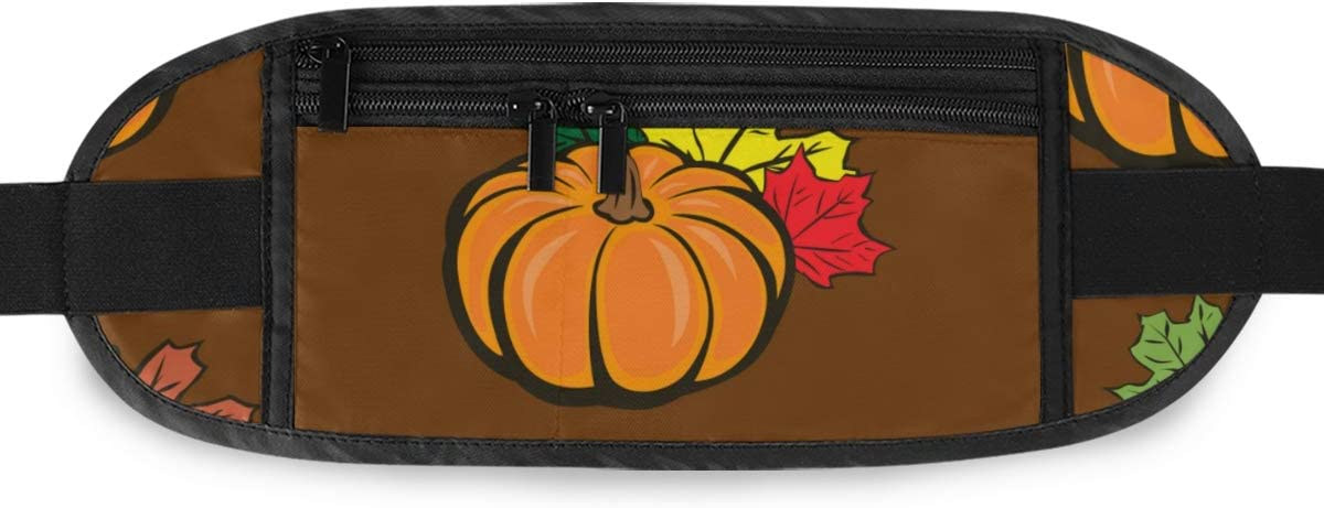 Travel Waist Pack,travel Pocket With Adjustable Belt Autumn Maple Leaves Pumpkin Floral Running Lumbar Pack For Travel Outdoor Sports Walking