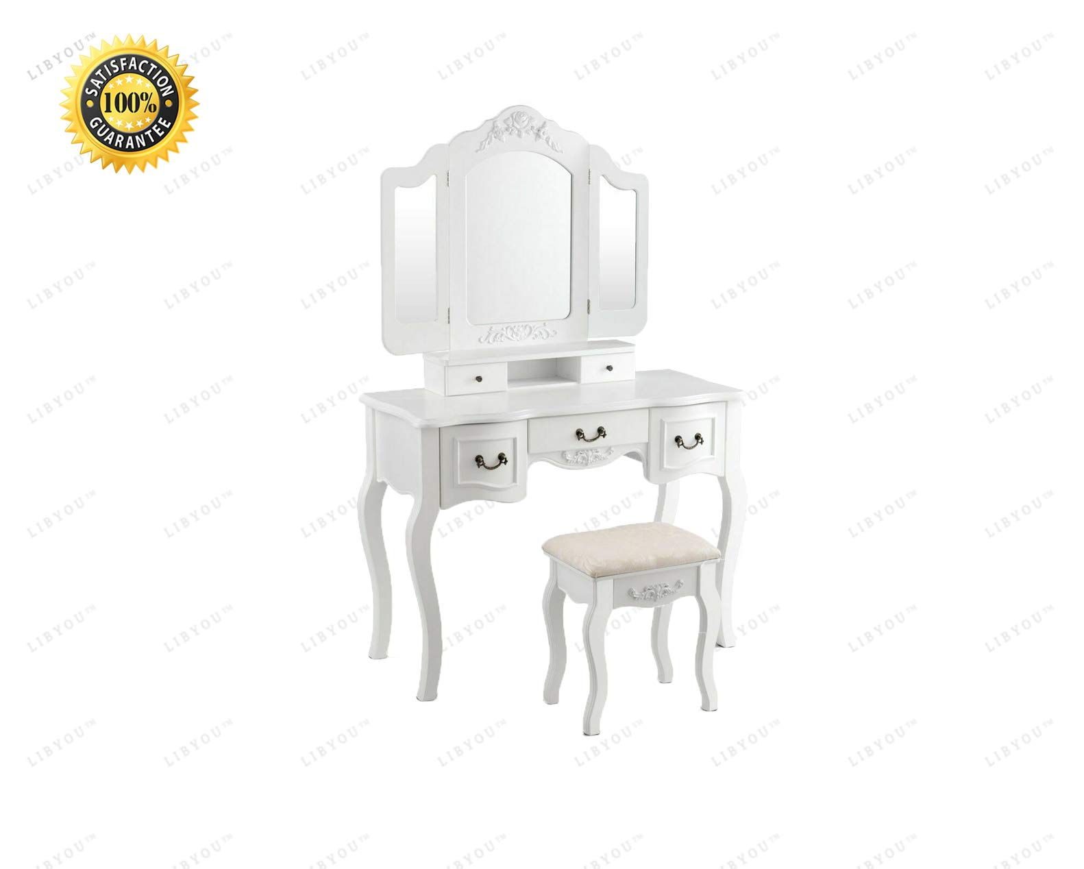 LIBYOU__Tri Folding Vanity Table,Makeup Dressing Table Set,Mirror Vanity Table Set, Makeup Table Stool Set,Dressing up Table, Tri Folding Mirror Makeup Table Set,Makeup Table Stool Set