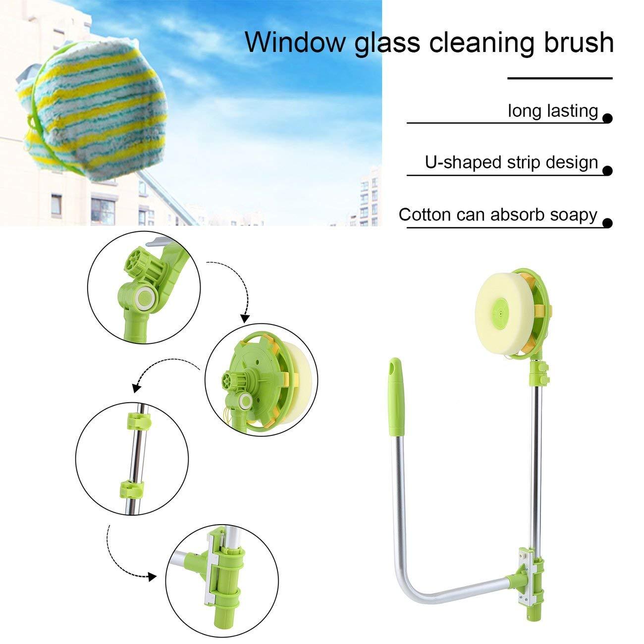 Elviray U Shape Telescopic High-rise Window Mirror Cleaning Glass Cleaner Dust Brush
