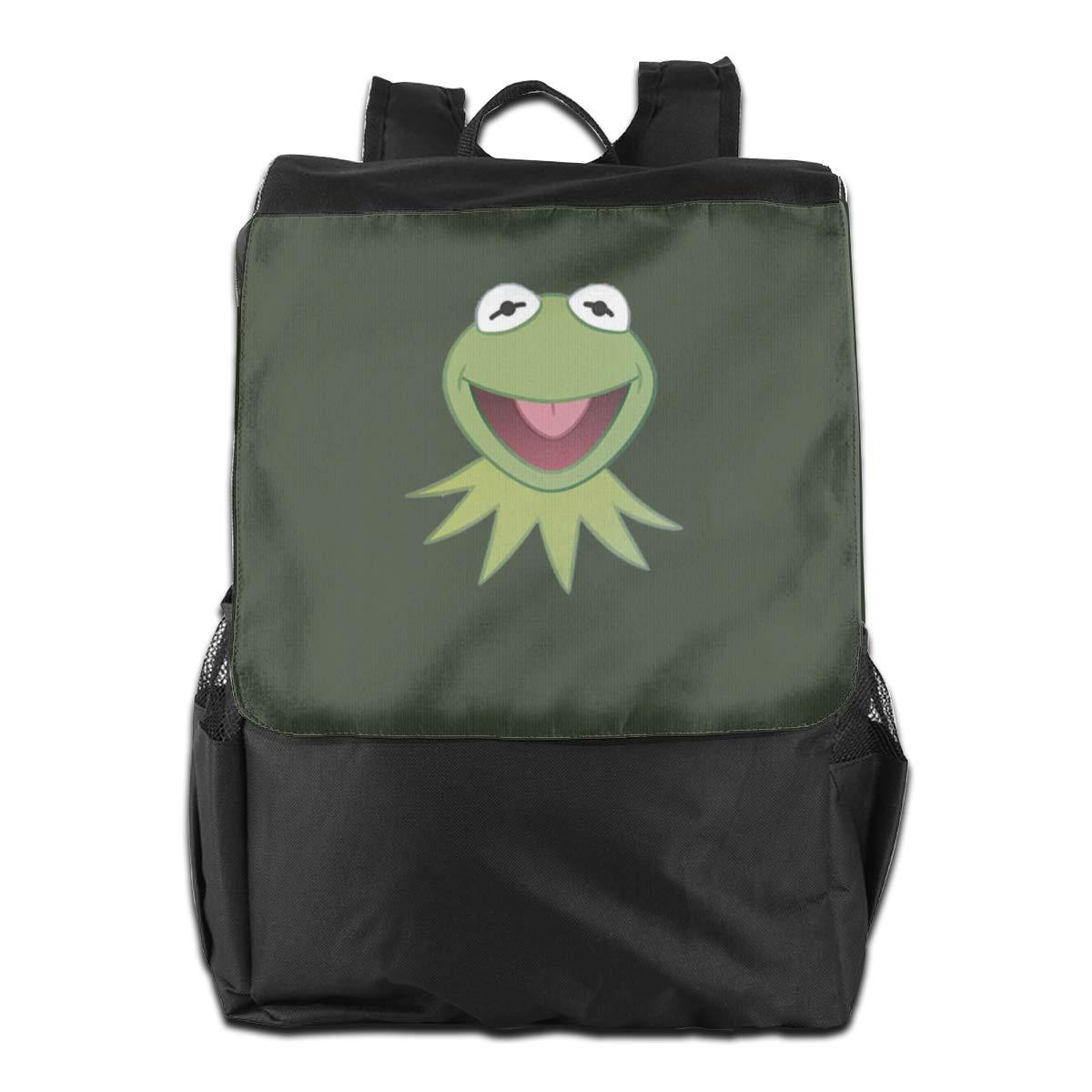 Artistic Dream Kermit The Frog Face ファッションプリント オックスフォード トラベルバックパック ショルダーバッグ One Size ブラック B07KK8F1HQ