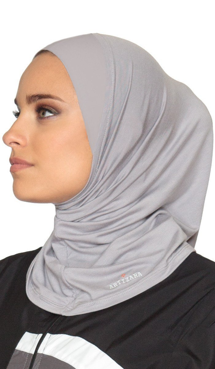 Artizara One Piece Stretch Sports Hijab, Athletic Hijab, Workout Hijab for Modest Islamic Hijabi Gym Workout - Grey