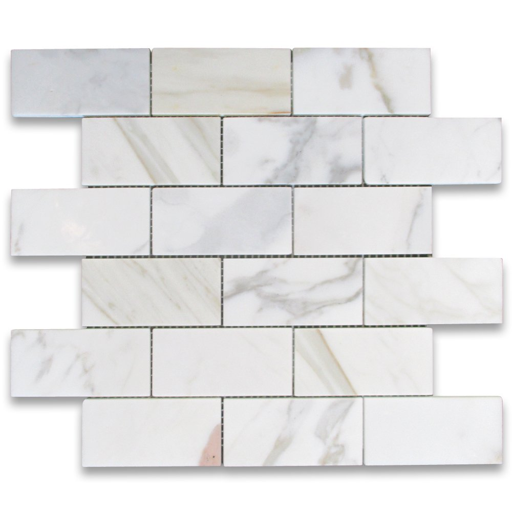 Calacatta gold italian calcutta marble subway brick mosaic tile 2 calacatta gold italian calcutta marble subway brick mosaic tile 2 x 4 honed beveled subway tile amazon dailygadgetfo Images