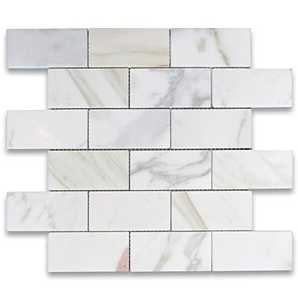 Calacatta Gold Italian Calcutta Marble Subway Brick Mosaic Tile 2 X