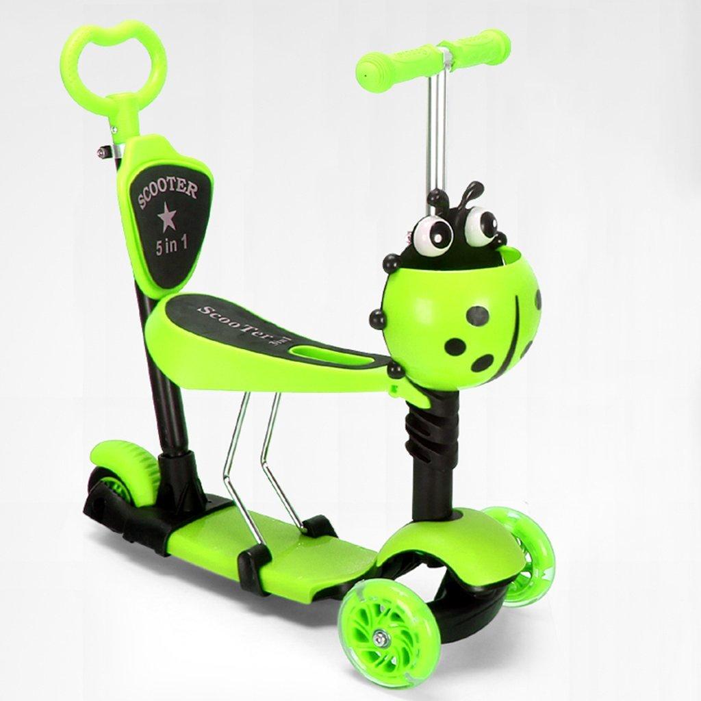 【返品送料無料】 子供のスクーター多機能漫画ウォーカー折りたたみ玩具ヨーヨー車のフラッシュホイール3-12歳の手のプッシュタイプ B07FYM6LFD Green B07FYM6LFD Green, Alice Blanche:baf83662 --- a0267596.xsph.ru