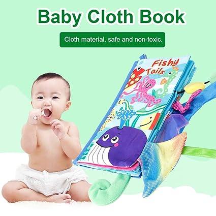 Tela No T/óxica Libros de Tela Para Beb/és Con Colas de Animales Lavable Juguetes de Educaci/ón Temprana Herramienta de Historia de Aprendizaje en Ingl/és para Beb/és Reci/én Nacidos Libro Suave para Beb/és Animal