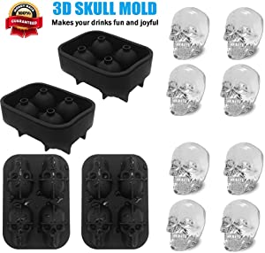 3D Skull Ice Mold-2 Pack,Easy Release Silicone Mold,Food Grade Silicone Ice Trays for Whiskey,Cocktails and Juice Beverages,Black