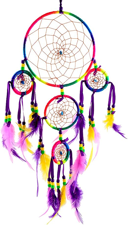 Indian Style Handmade 5 Circle Dream Catcher Wall Hanging Feather Beads Ornament