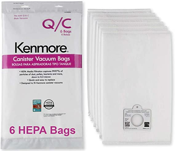 Kenmore HEPA Vacuum Bags C Q - Kenmore and Sears Style Q/C Bags for Canister Vacuum Cleaners. Also Fits Kenmore 5055