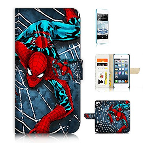 ( For ipod 5, itouch 5, touch 5 ) Flip Wallet Case Cover & Screen Protector Bundle! A20355 Spiderman Super Hero