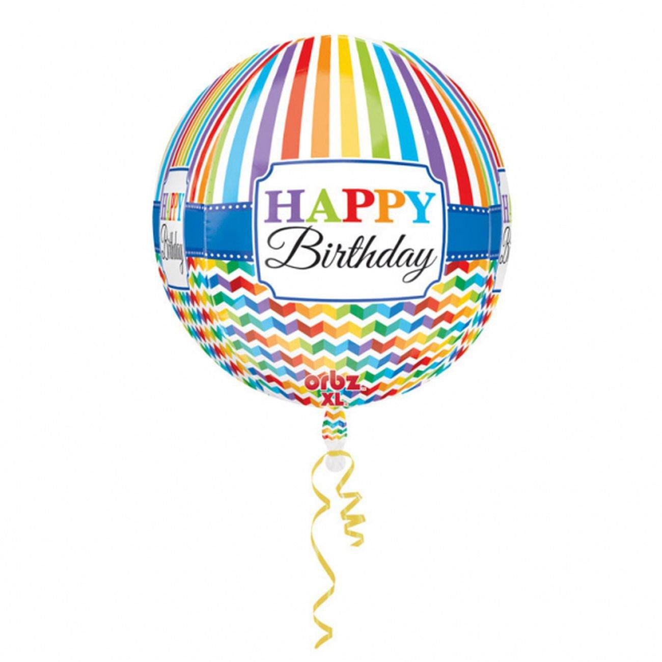 Multicolor 16 Anagram International Happy Birthday Bright Stripe Chevron Orbz Balloon