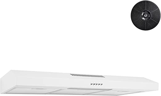 Amazon Com Akdy Under Cabinet Kitchen Range Hood Cooking Fan With Push Panel Lighting Bar Carbon Filters 36 In White Painted Stainless Steel Appliances