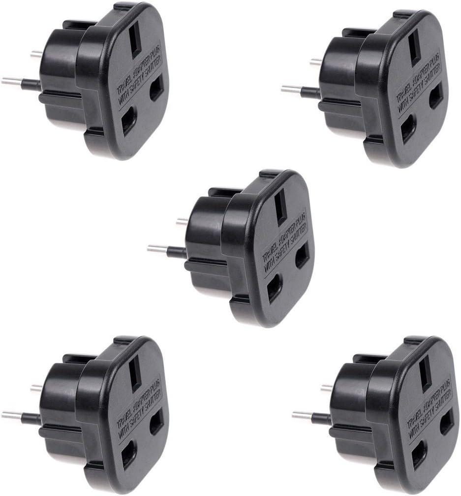 Adaptador de Viaje Negro Reino Unido a UE Pin convertir q4u Adaptador de Corriente UK Plug to Euro Pack de 5: Amazon.es: Electrónica
