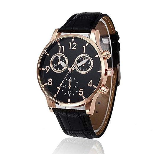 Scpink Relojes de Cuarzo para Hombre Liquidación únicos Relojes analógicos Relojes de Pulsera de Cuero para Hombres (Negro): Amazon.es: Relojes