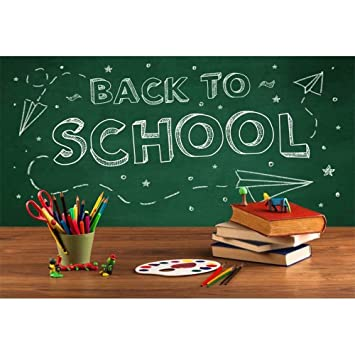 OFILA Kids Back to School Backdrop 5x3ft Polyester Fabric Kids Back to School Background School Day Events Decor Back to School Background Kids School Pictures Studio Props