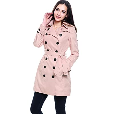 BGSD Women's Viv Waterproof Hooded Mid Length Trench Coat: Clothing