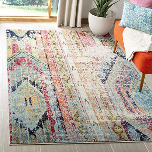 "Safavieh Monaco Collection MNC222F Modern Bohemian Multicolored Distressed Area Rug (5'1"" x 7'7"")"