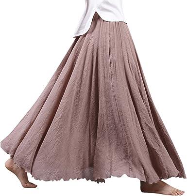 ZhuiKun Mujeres Lino Larga Faldas Doble Capa Cintura Elástico ...