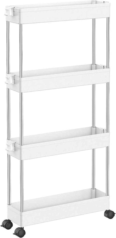 4-Tier Slide Out Gap Kitchen Slim Storage Tower Rack Shelves Cart Wheels