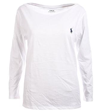 bce2171065d58c Ralph Lauren Polo Damen 3 4 Arm Longsleeve Shirt U-Boot Kragen Weiß Größe