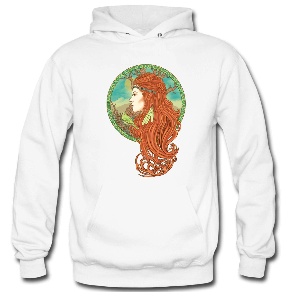 Mens Red Hair Hooded Sweatshirt Funny Printed Pullover Hoodies Classic Long Sleeve T Shirt Tops