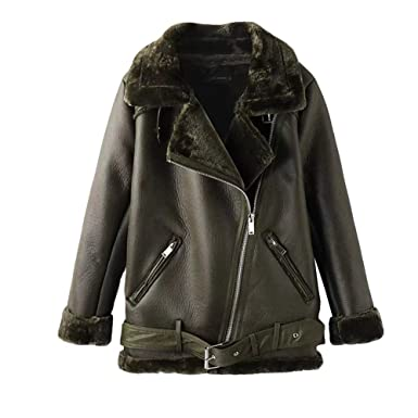 hot sale online 40ac2 b43ae Newbestyle Damen Bikerjacke Pilotenjacke Lederjacke mit Fell Top Coat mit  Schrägem Reißverschluss