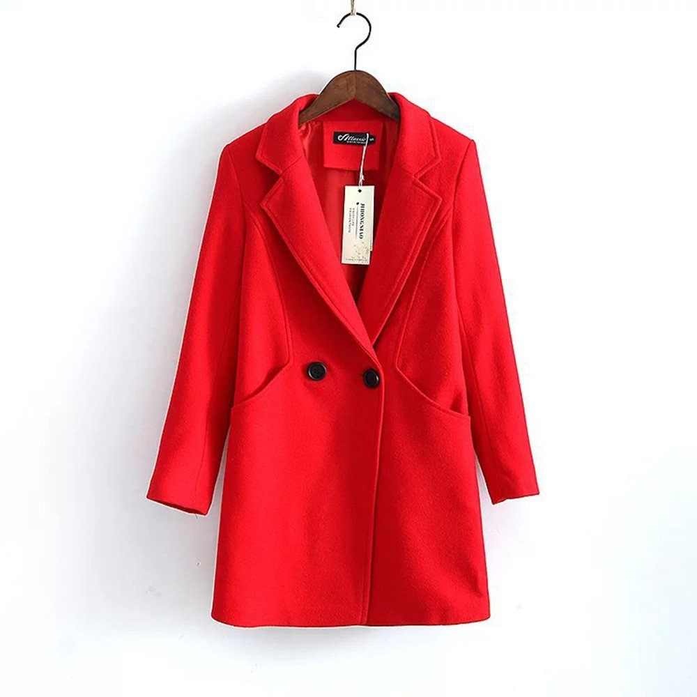 Pugaomsiw einfache Mantel Frauen einzelne Feste Studenten langärmelige Wolle Mantel Mantel am Revers,S,Rot - rot