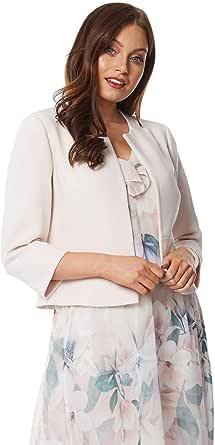 Roman Originals - Chaqueta entallada de jacquard para mujer, ligera, de encaje floral, con botones simples y cuello, estilo informal para la oficina o las salidas.