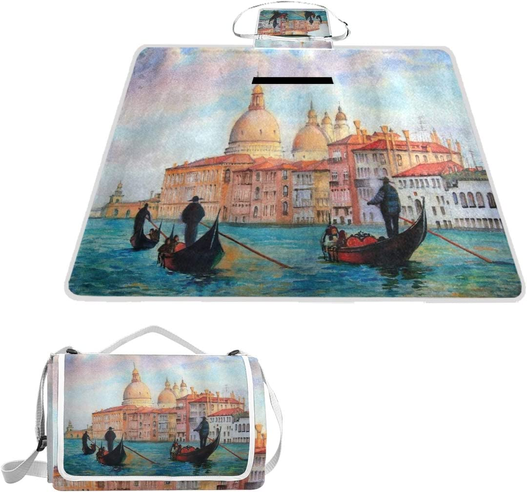 Xingaka Picnic Blanket Venice Watercolor Painting Of Serene Cityscape Antique Gondolas Scenic Large Beach Blanket Outdoor Camping Waterproof Backing Foldable Amazon Co Uk Garden Outdoors