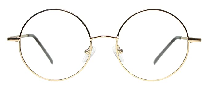 full rim metal round eyeglasses frame large size gold