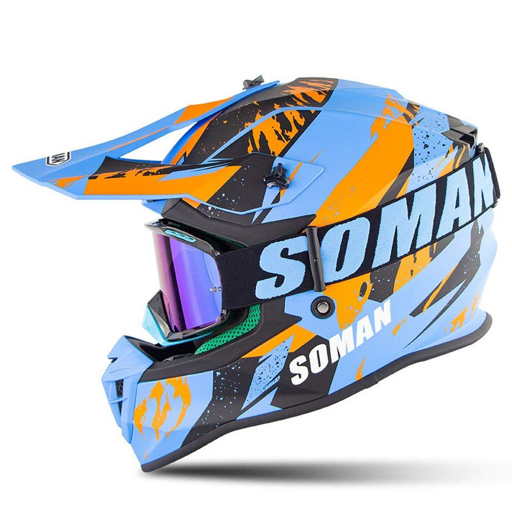 Motorcycle Motocross Safety Helmet -Downhill Mountain Helmet Motorbike Moped Full Face Riding Goggles Four Wheeler Quad Dirt Bike face Helmet for Adult Men Girls ATV - DOT Approved,D,XL