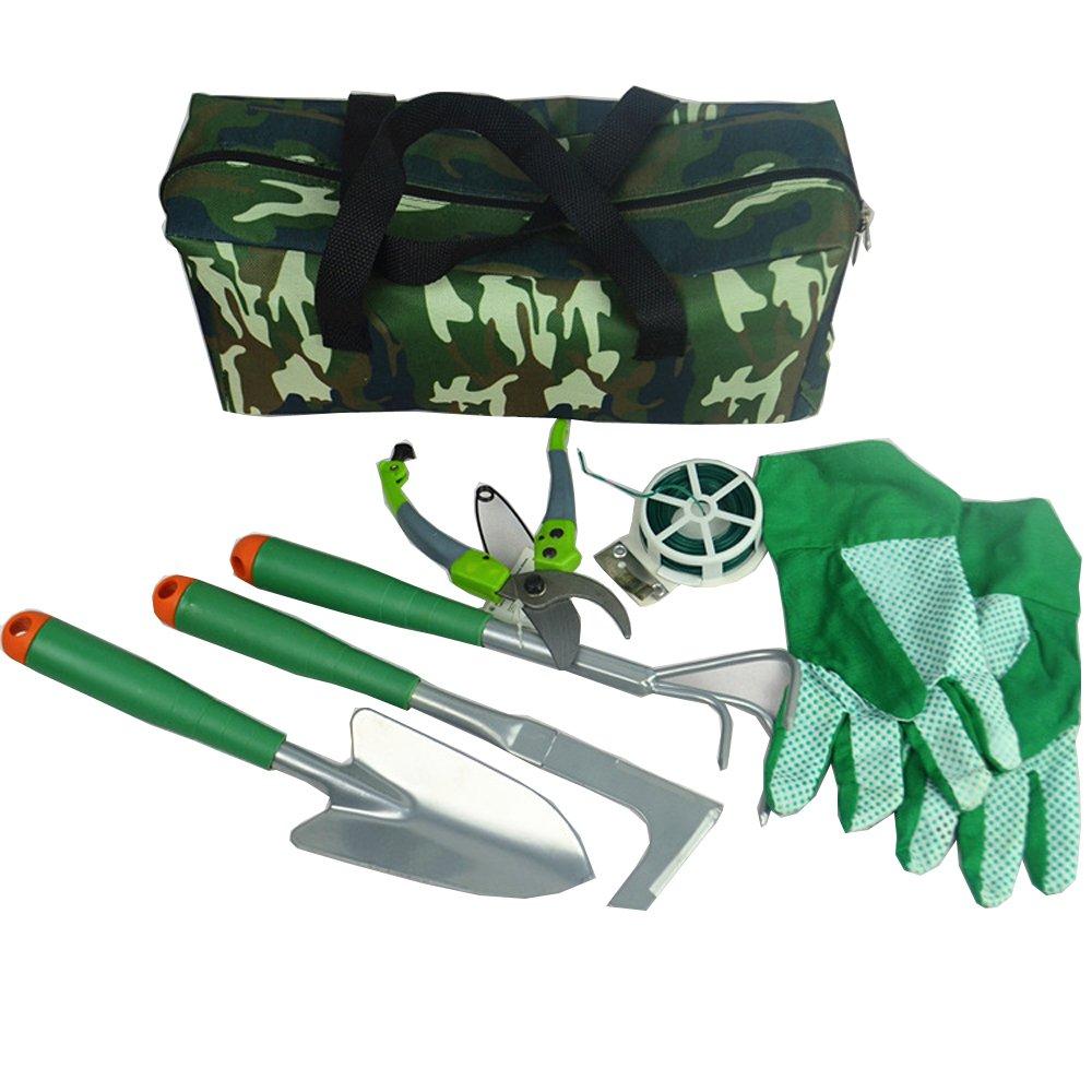Icepark Garden Tools Set Gloves Heavy Duty Gardening Kit Pruners with Bag Durable Steel Handle Accessories 7PCS
