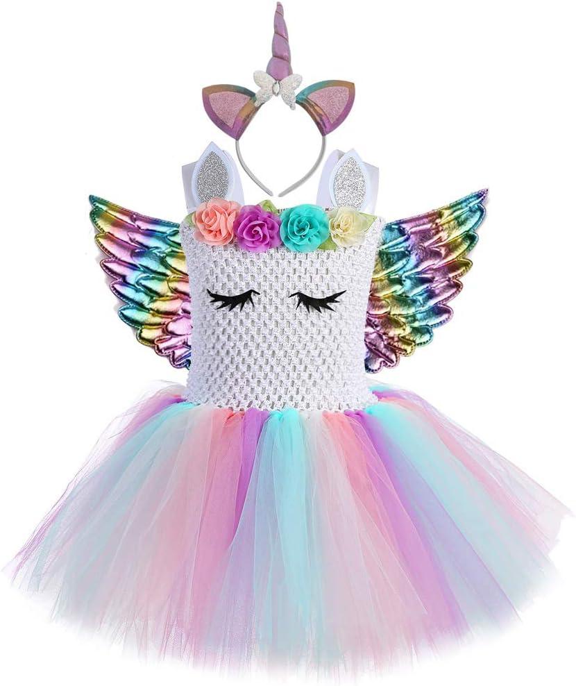 QYS - Disfraz de Unicornio para niña con Flores en 3D, Vestido de ...