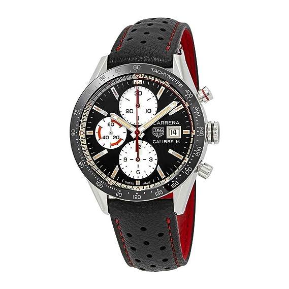 Reloj Tag Heuer Carrera cv201ap.fc6429 automático acero quandrante negro correa piel