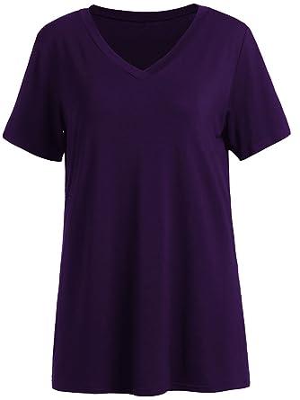 f28225406628 Romwe Women s Short Sleeve V Neck Loose Casual T-Shirt Tee Top Purple XS